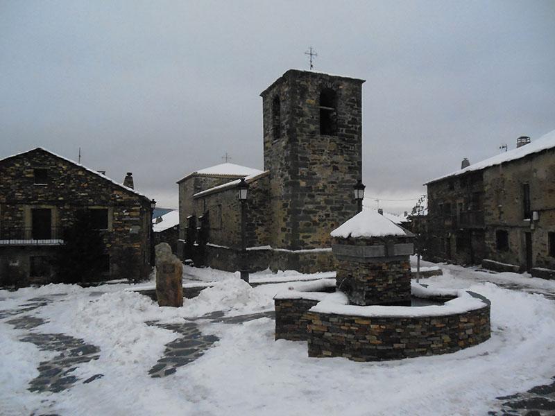 Valverde de los Arroyos en un día de nieve