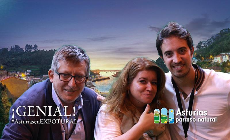 Una recuerdo del stand de Asturias con Cristina Gijarro de @budiadirecto y Víctor Pascual de Senderismoguadalajara