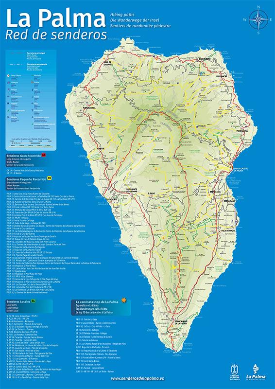 Mapa de los senderos de La Palma