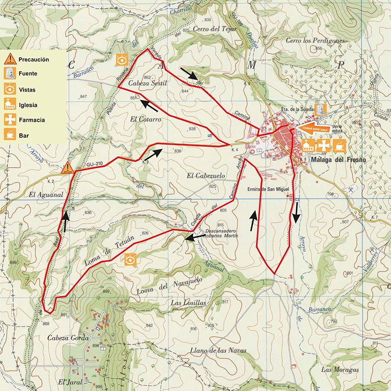 Mapa ruta btt corta La Cañada Real