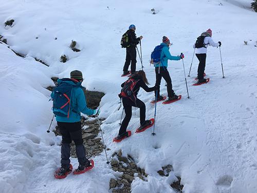 Senderistas practicando raquetas de nieve