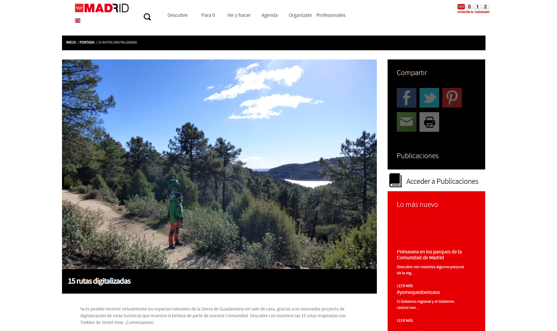 Madrid, 15 rutas digitalizadas